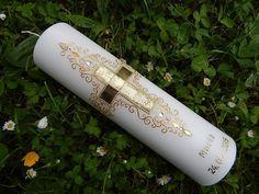 23 Taufkerze Kommunionkerze Junge Mädchen Gold  von Lenz  Kerzen auf DaWanda.com