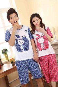 Korean Fashion Red Blue Carton Sweet Couple Cotton Pajamas(Four Pieces)
