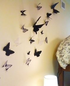DIY butterfly wall decor. Did this!! But with black scrapbook paper… printed pics (template) of butterflies, cut them out, traced onto scrapbook paper and cut that out. Then I just used tape to stick to wall!!!! This is awesome and looks amazing in my r  | followpics.co