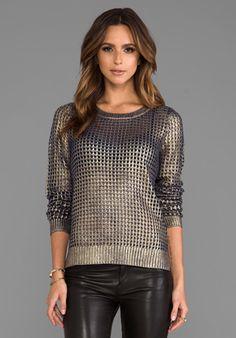 BB DAKOTA Bardot Metallic Printed Sweater in Navy/Gold at Revolve Clothing - Free Shipping!