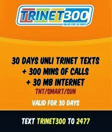 Trinet300 Promo: Unli Text, Call, Internet To SMART/TNT/SUN
