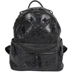 Pre-owned MCM MUNCHEN Black DISTRESSED Canvas STARK BACKPACK Shoulder... (1,100 CAD) ❤ liked on Polyvore featuring bags, backpacks, handbags and purses, black rucksack, canvas laptop bag, laptop rucksack, studded canvas backpack and black backpack