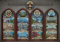 Info Graphic - The Miracles Performed By Jesus by Shaun Chan, via Behance Bible Crafts For Kids, Bible For Kids, Teaching Religion, Catechist, Stained Glass Art, Catholic, Infographic, Behance, Faith