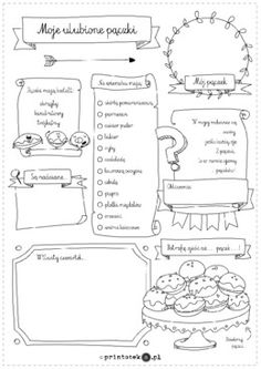 Moje ulubione pączki - Printoteka.pl Teaching English, Games For Kids, Projects To Try, Bullet Journal, School, Games For Children