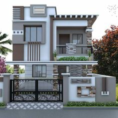 Single Floor House Design, Bungalow House Design, House Front Design, Modern House Facades, Modern Architecture, Modern Bedroom Design, Modern House Design, House Elevation, Building Elevation
