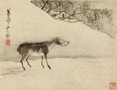 """""""Braying Donkey"""" by Gao Qipei (Chinese, 1660-1734). Ink and color on paper. Courtesy: The Walters Art Museum, Mount Vernon Baltimore, Maryland (USA)."""