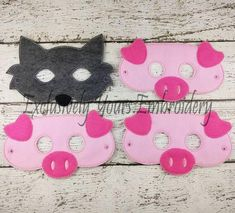 Items similar to 4 Piece Three Little Pigs Children's Felt Mask Set - Costume - Theater - Dress Up - Halloween - Face Mask - Pretend Play - Party Favor on Etsy Toddler Arts And Crafts, Diy Crafts For Kids, Halloween Face Mask, Up Halloween, Birthday Gifts For Kids, Birthday Party Favors, Pig Mask, Felt Mask, Three Little Pigs