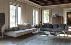 Enhancing the living area offering are new products in the elegant Swing range, which comprises an armchair, sofa, ottoman, chaise longue and side table. Leather Sectional, Sectional Sofa, European Furniture, Modern Furniture, Sofa Design, Sofas, Living Room Furniture, Dining Rooms, Modern Interior