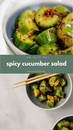 spicy cucumber salad the capsule kitchen Salad Recipes Healthy Lunch, Salad Recipes For Dinner, Chicken Salad Recipes, Veggie Recipes, Vegetarian Recipes, Healthy Eating, Cooking Recipes, Diet Recipes, Cake Recipes