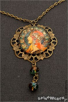 Art Déco Dame Amulett - Halskette, Medaillon, Czech Glass, Schmuck-Platte, Filigran, Cabochon, blau, orange, bronze, Metall, handmade by SpinnWeben on Etsy