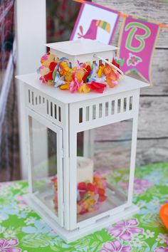 Themed decorations at a Luau Birthday Party!  See more party ideas at CatchMyParty.com!