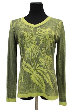 CAbi 260 Green Botanical Cashmere Blend Sweater Size M