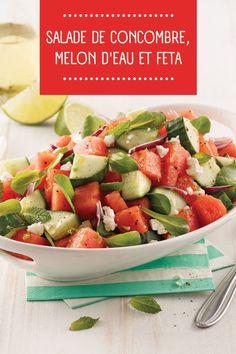 Voici une recette simple qui volera certainement la vedette lors de votre prochain potluck : une salade de concombre, de melon d'eau et de feta! Un pur délice tout en légèreté et en fraîcheur! Voici, Feta, Potato Salad, Salsa, Potatoes, Ethnic Recipes, Mint, Salads, Side Dishes