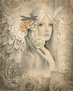 SUMMER ROSE Victorian inspired angel art 17 inch x 22 inch giclee print from original angel drawing by Jessica Galbreth.