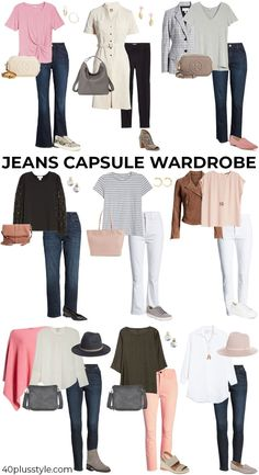Some simple guidelines on how to wear jeans when you are over 40 and look stylish, hip and age appropriate. Here are all the jeans outfit ideas you need. Mode Outfits, Jean Outfits, Fashion Outfits, Fashion Boots, Fashion Fashion, Runway Fashion, Winter Fashion, Capsule Wardrobe Casual, New Wardrobe