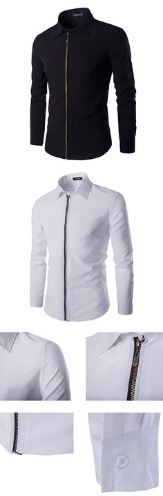US$19.99 (47% OFF) Casual Simple Band Collar Zipper Up Slim Designer Shirts for Men