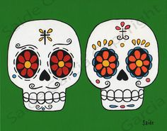 Day of the Dead Couple Boyfriends Original PRINT 8x10 by saide, $9.95