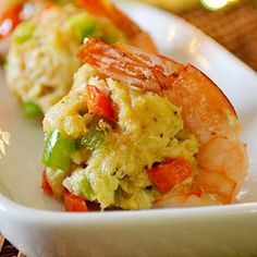 Crab Cake Stuffed Shrimp - Lady Behind The Curtain. This beautiful crab cake stuffed shrimp appetizer will bring a little bit of sophistication to your party and add perfection to your appetizer table. Shrimp Dishes, Fish Dishes, Shrimp Meals, Shrimp Pasta, Crab Recipes, Appetizer Recipes, Seafood Appetizers, Picnic Recipes, Picnic Ideas