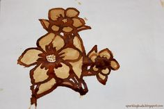 Coffee is used as a paint to make this beautiful coffee painting. Create different shades of the coffe paint by adding water.