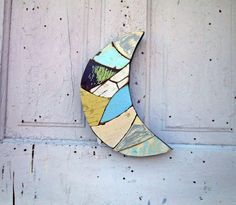 Blue Moon Reclaimed Wood Mosaic Art Crescent Moon. $34.00, via Etsy.