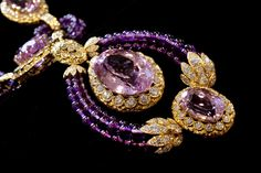 Crystal necklace set with kunzite, amethyst and diamonds [Elizabeth Taylor Collection]