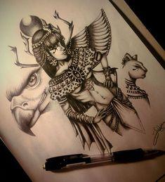 Tattoo Египетская девушка - tattoo's photo In the style Black and grey, Egypti Anubis Tattoo, Bastet Tattoo, Nefertiti Tattoo, Hamsa Tattoo, Egyptian Queen Tattoos, Egyptian Tattoo Sleeve, Egyptian Drawings, Egyptian Art, Egyptian Goddess Tattoo