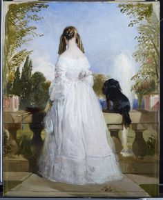"""""""Princess Victoire of Saxe-Coburg-Gotha """", by Sir Edwin Landseer, 1839; QUEEN VICTORIA owned this painting of her first cousin -, 'much-beloved Vecto'. Lanseer was one of Victoria's favorite artists. (Royal Collection Trust)"""