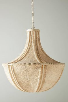 Wood Bead Chandelier, Chandeliers, Pendant Lighting, Woven Dining Chairs, Compact Fluorescent Bulbs, Hanging Furniture, Lamp Shades, Home Lighting, Decoration