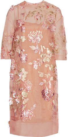 Blush silk-blend organza Concealed zip fastening along back silk, acetate, polyamide, polyester; Pink And Red Dress, Red Slip Dress, Sheer Dress, Lace Dress, Sheer Embroidered Dress, Organza Dress, Applique Dress, Embroidery Dress, Transparent Dress