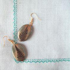 Fern print polymer clay earrings