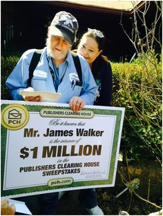 "PCH's newest Millionaire Moment.....""PIN"" now to congratulate James W. from Newalla OK- The lucky winner of $1 Million!!! James and his wife Sandy will use the money to help out their big family of 6 children and 15 grandchildren !......"