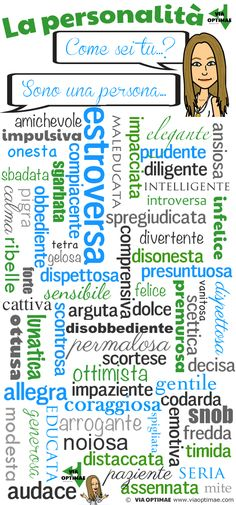 Aggettivi di personalità… Come sei tu? Talking about yourself and your personality in Italian. How many adjectives do you recognize?