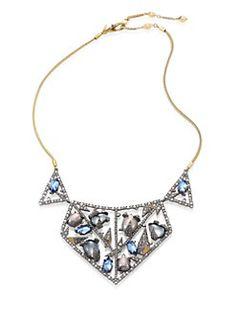 Alexis Bittar - Crystal-Encrusted Mosaic Lace Bib Necklace