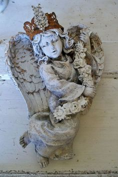 Angel wall sculpture with crown hand painted by AnitaSperoDesign, $230.00