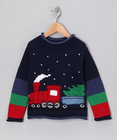 Navy & Olive Train Sweater - Infant, Toddler & Boys