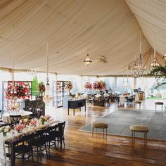 Tented reception space with chalkboard dance floor
