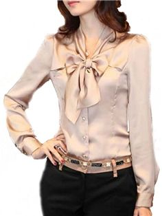 2016 Spring Women Casual Blusas Tops Long Sleeve V-Neck Bow Ties Chiffon Blouse Shirts Women Office Shirt Cheap Blouses, Cute Blouses, Blouses For Women, Shirt Blouses, Casual Chic, Modele Hijab, Formal Tops, Moda Plus Size, Beautiful Blouses