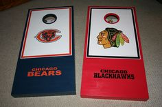 Custom Made Chicago Blackhawk and Bears Cornhole Boards with premium legs and decals https://www.etsy.com/shop/2Gwoodworking
