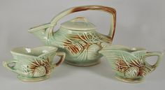 McCoy Pottery Pine Cone Teapot Set with Sugar Creamer Authentic and Vintage. $98.00, via Etsy.