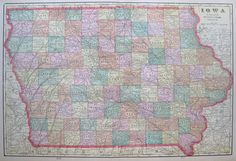 Antique IOWA Map of Iowa 1908 Vintage Map Gallery Wall Art Home Decor #1839