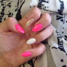 Pink white and gold glitter stilletto nails