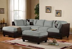 3 Piece Modern Microfiber Faux Leather Sectional Sofa with Ottoman, Color Hazelnut, Beige, Chocolate and Grey (Grey), http://www.amazon.com/dp/B014RZ9LJ4/ref=cm_sw_r_pi_awdm_4roAxb9DN0SM6