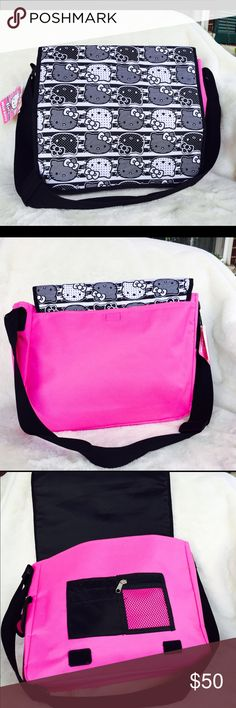 Hello Kitty Messenger Bag It's back to school and this is a perfect bag for you little cuties out there. Brand new with tag. It has zipper pocket and slip pockets. Strap is adjustable. Hello Kitty Bags Crossbody Bags