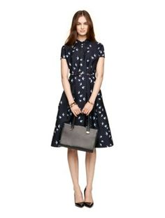 """winter swallow structured shirtdress - Kate Spade New York DETAILS  FEATURES 100% polyester shortsleeve belted at waist FIT shirtdress size 4 measures 42"""" long from highest shoulder point style # njmu5868 $261.00"""