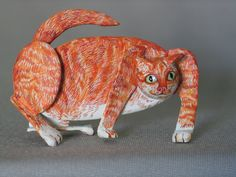 Fine Art Miniatures by Natasha, featuring shadow boxes, miniature paintings, painted sculptures, and dollhouse scale decorated period furniture. Kittens, Cats, Sculpting, Dog Cat, Sculptures, Creatures, Miniatures, Fine Art, Orange