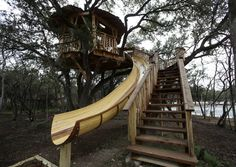 I think it's only fitting that a treehouse house would have a slide in it somewhere :)