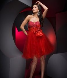 Red Sweetheart Beaded Bow Organza Homecoming Dress$107.39