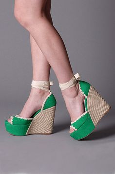 New emerald green open toe high heel platform slingback wedge pump