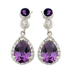 Amethyst 4.90 Carat White Topaz Earrings in 925 Sterling Silver