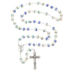 Ceramic Blue Flower Rosary with striking pastel hues. Lovely!
